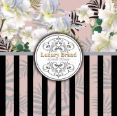 Luxury card with lily flowers Vector. Beautiful illustration for brand book, business card or poster. Pink background. Place for texts