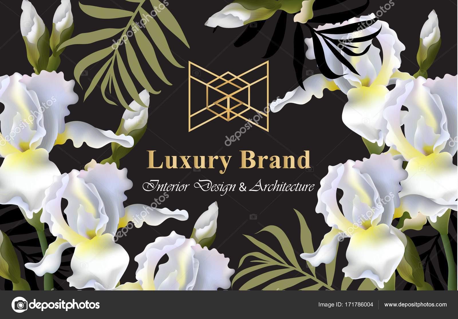 Iris flowers card Vector. Beautiful illustration for invitation ...