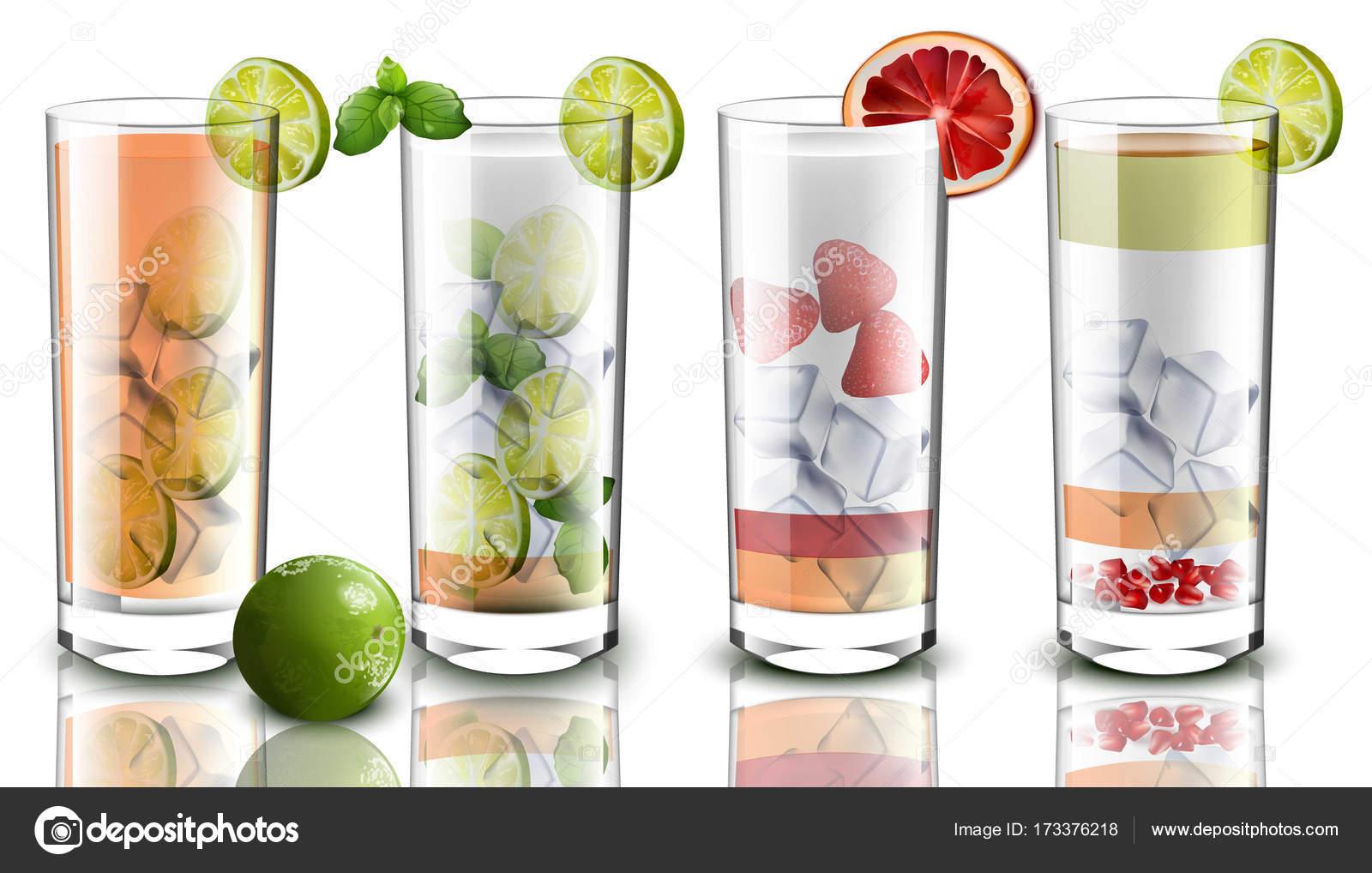 Cocktail set realistische Vektor. Getränke Obst Mischung. Getränke ...