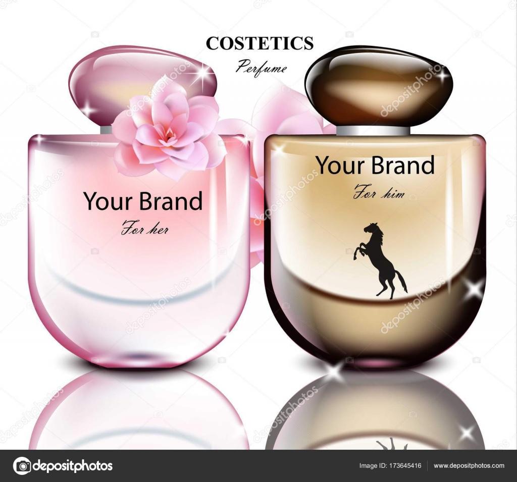 d5f65a10771db Conjunto de botella de perfume hombres y mujeres. Diseños de embalaje de  producto vectorial realista– ilustración de stock