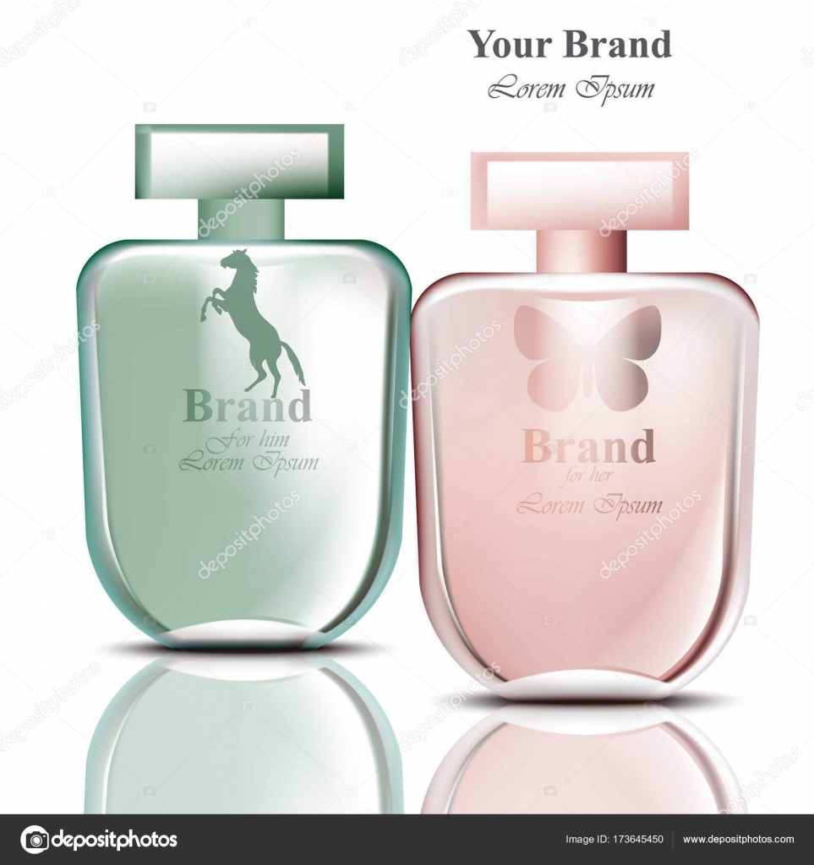 6a13fbad76e40 Set de botellas de perfume para hombres y mujeres. Diseños de embalaje de  producto vectorial