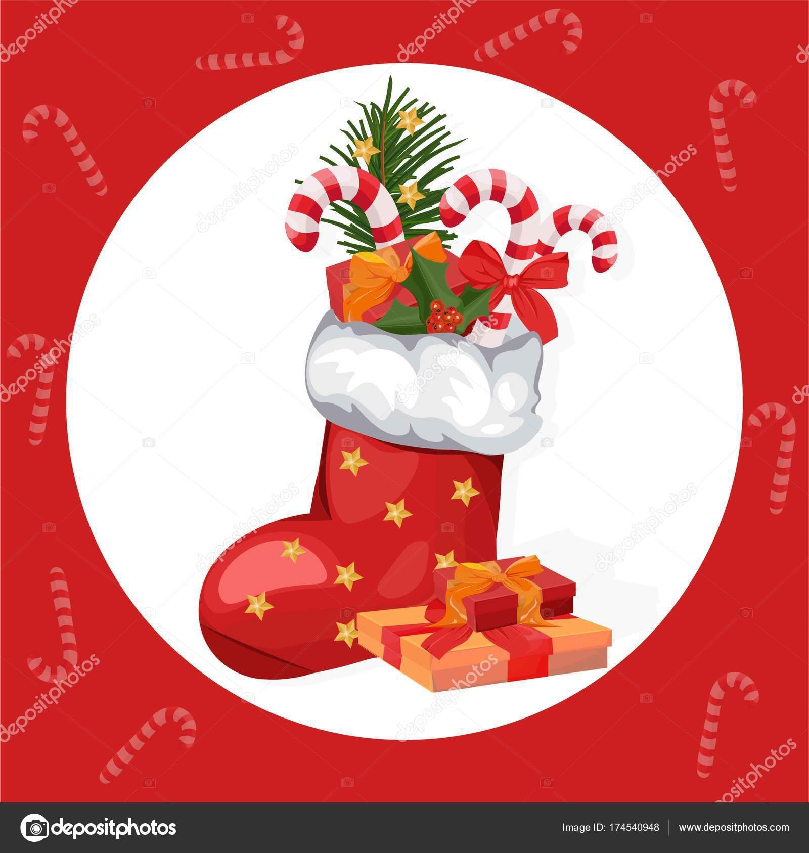 Christmas Holidays Icon.Christmas Socks Vector Happy Holidays Icon Red Santa Sock
