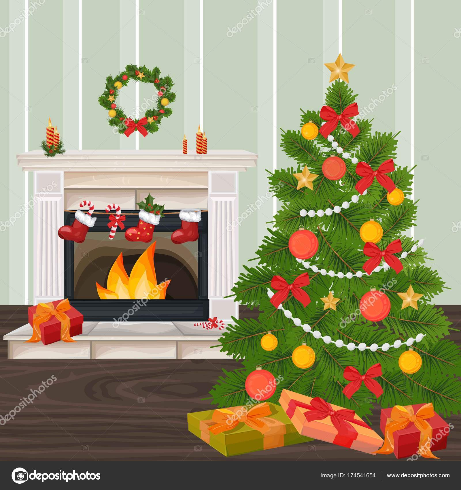 classic fireplace chimney and christmas tree vector realistic