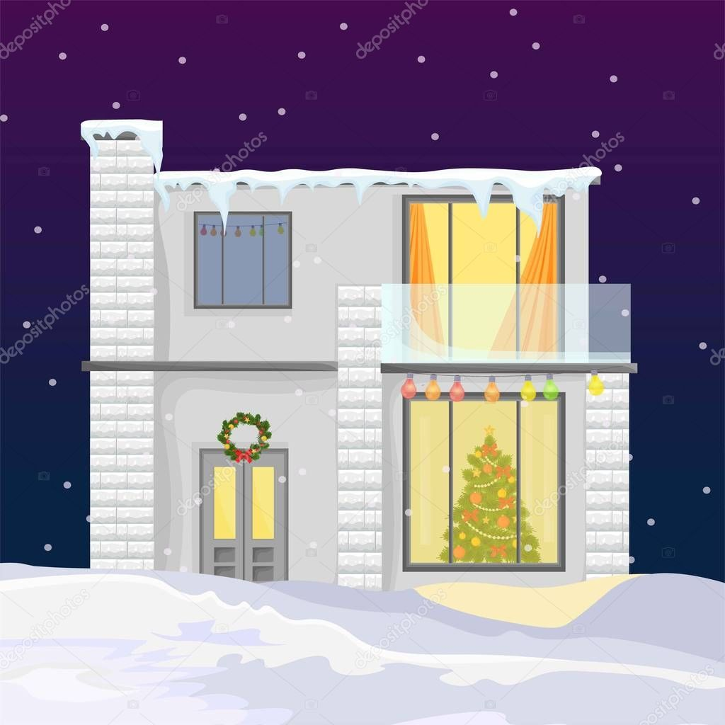 Modern House During Winter Holidays Christmas Tree And Snowing Background Vector Premium Vector In Adobe Illustrator Ai Ai Format Encapsulated Postscript Eps Eps Format