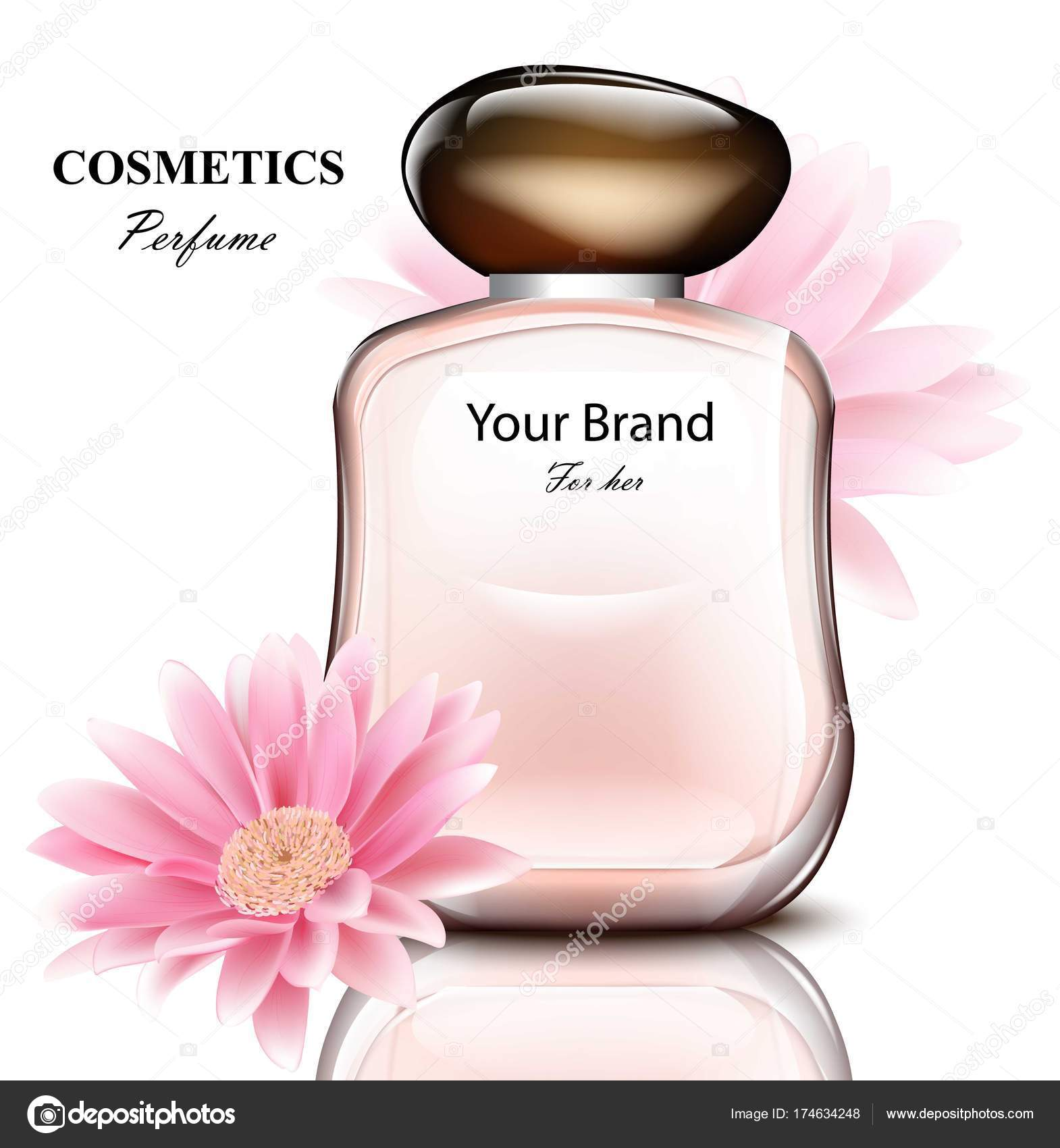 Women perfume bottle with delicate daisy flower fragrance realistic women perfume bottle with delicate daisy flower fragrance realistic vector product packaging designs stock izmirmasajfo Image collections