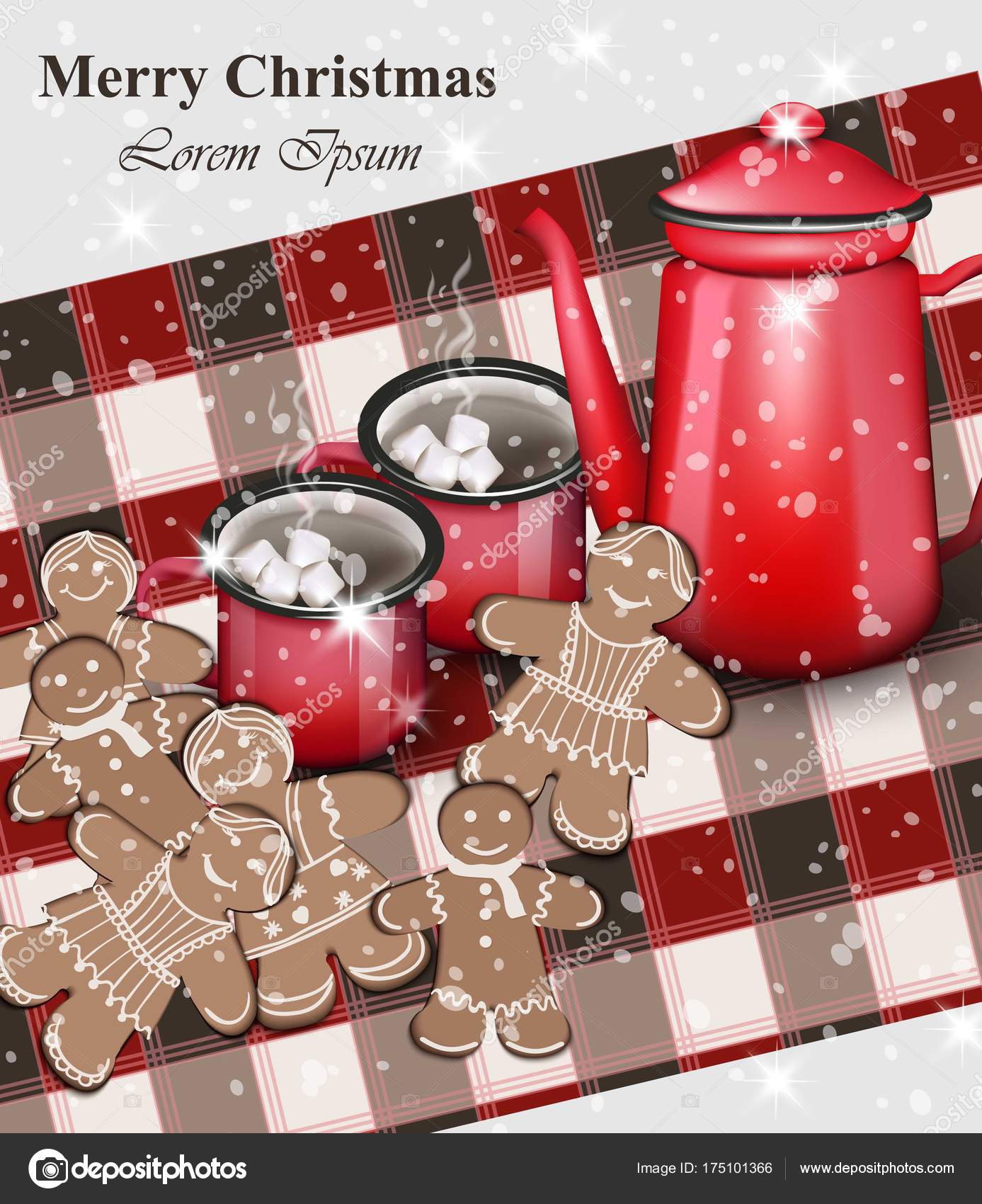 Merry christmas card gingerbread cookies and hot drinks over merry christmas card gingerbread cookies and hot drinks over gingham pattern vintage vector realistic m4hsunfo