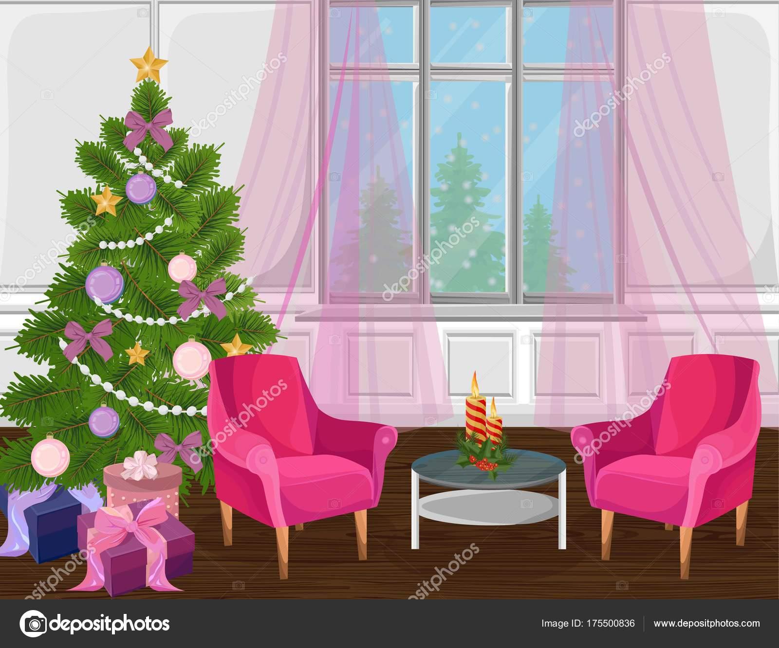 Classic Livingroom Interior With Christmas Tree Vector Cartoon