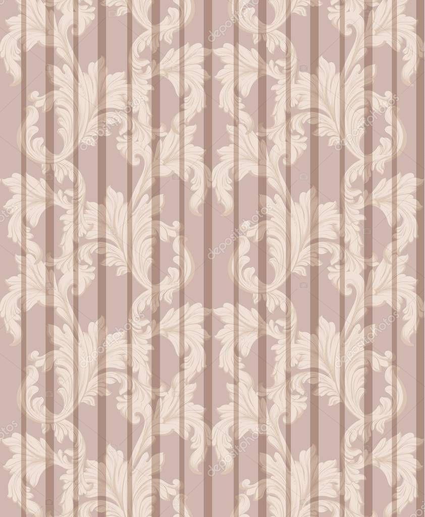 Vintage Damask pattern Vector illustration handmade ornament decor. Baroque background textures