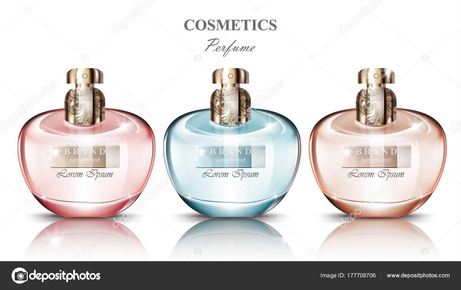 73afb58b9c50d Las mujeres perfume fragancias de colección set de botella. Diseños de  embalaje de producto vectorial