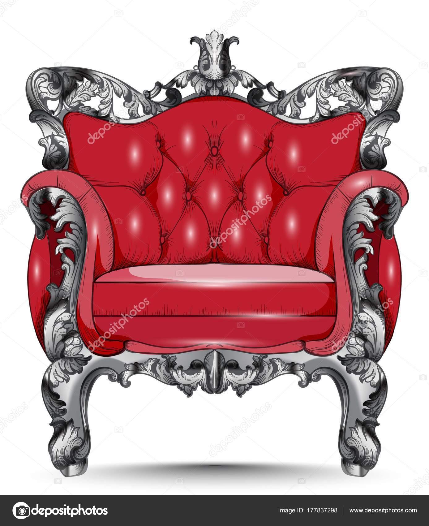 Sillón rojo barroco. Muebles con estilo victoriano decorada tela ...