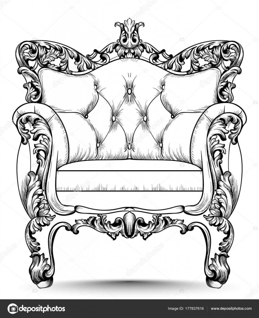 Sillón de lujo barroco. Muebles con estilo victoriano ornamentan ...