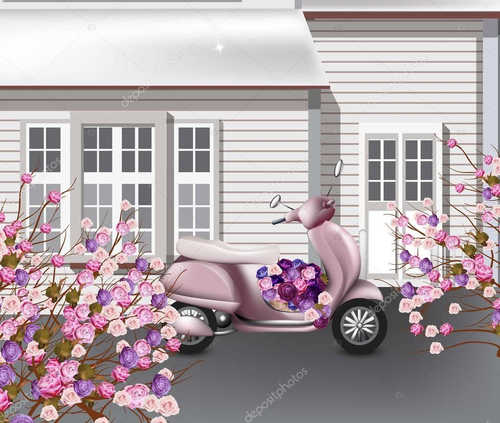 Valentines Day card with pink scooter and flowers bouquet Vector. Greeting card romantic designs