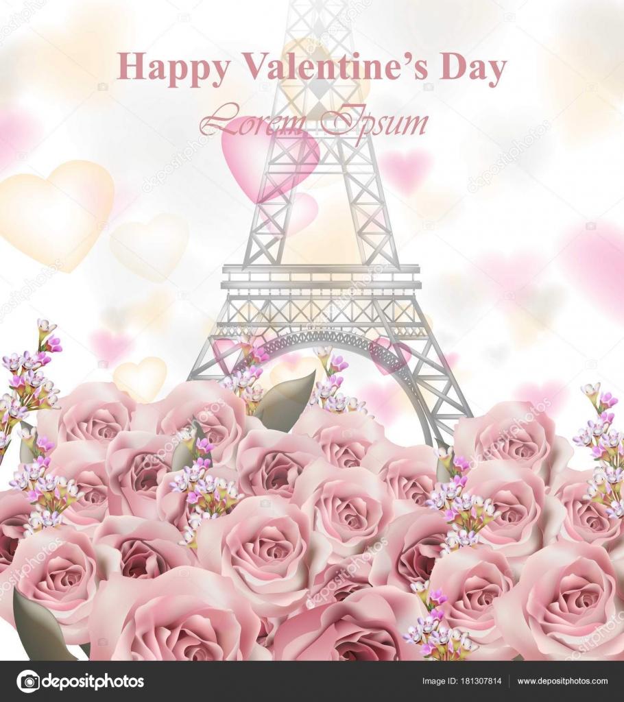 Valentine-Tageskarte mit Eiffelturm und Rosen. Schöne Ferien Vektor ...
