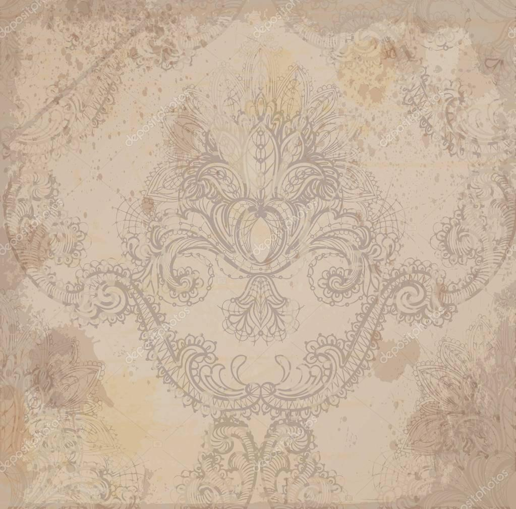 Vintage Damask grunge pattern Vector ornament decor. Baroque grunge background textures. Royal victorian trendy designs