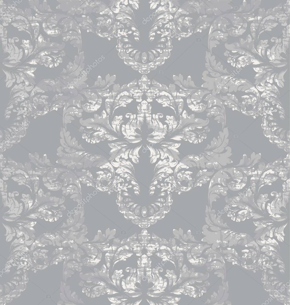 Gray classic pattern Vector ornament decor. Baroque background textures. Royal victorian trendy designs