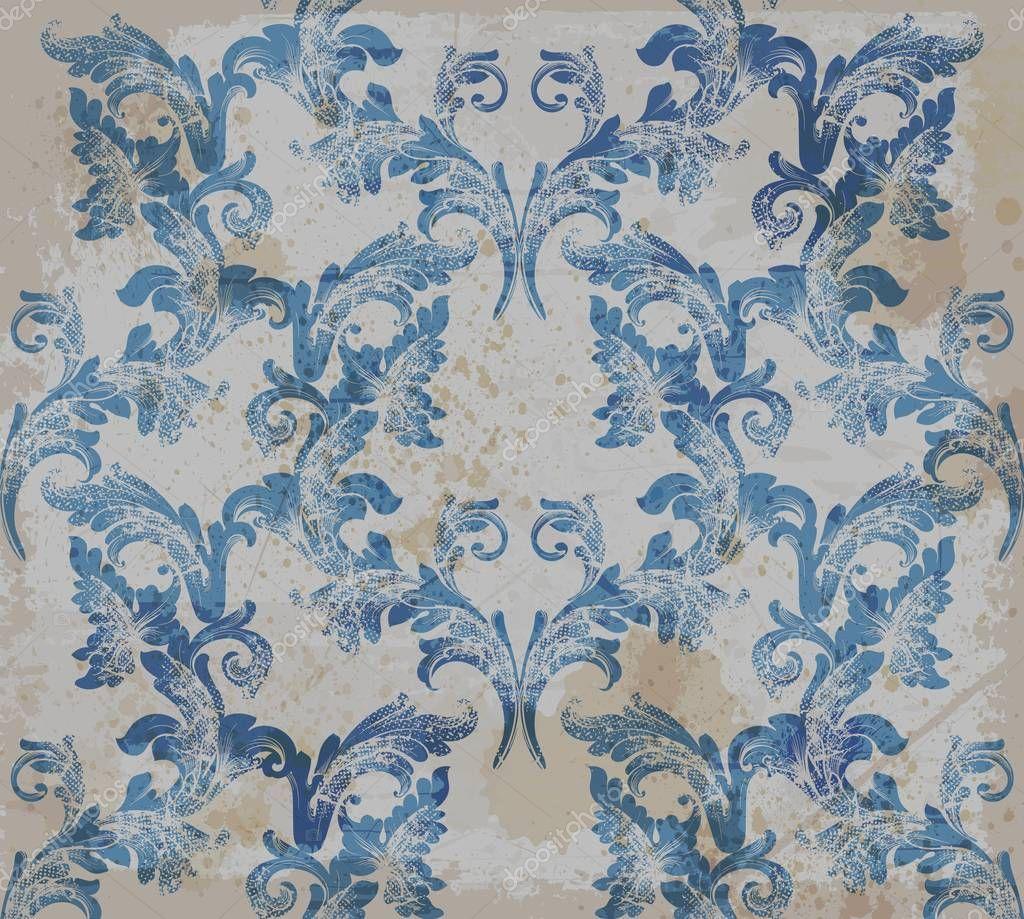 Damask old pattern ornament decor Vector. Baroque fabric texture illustration designs