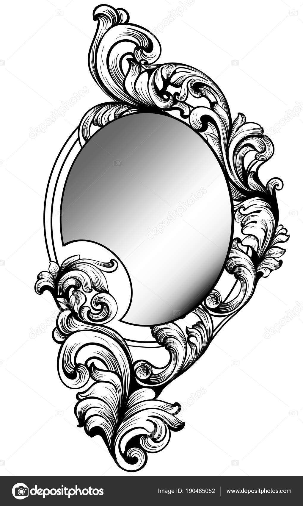Baroque Mirror Frame Vector Imperial Decor Design Elements Rich Encarved Ornaments Line Art By Inagraur Ymail Com