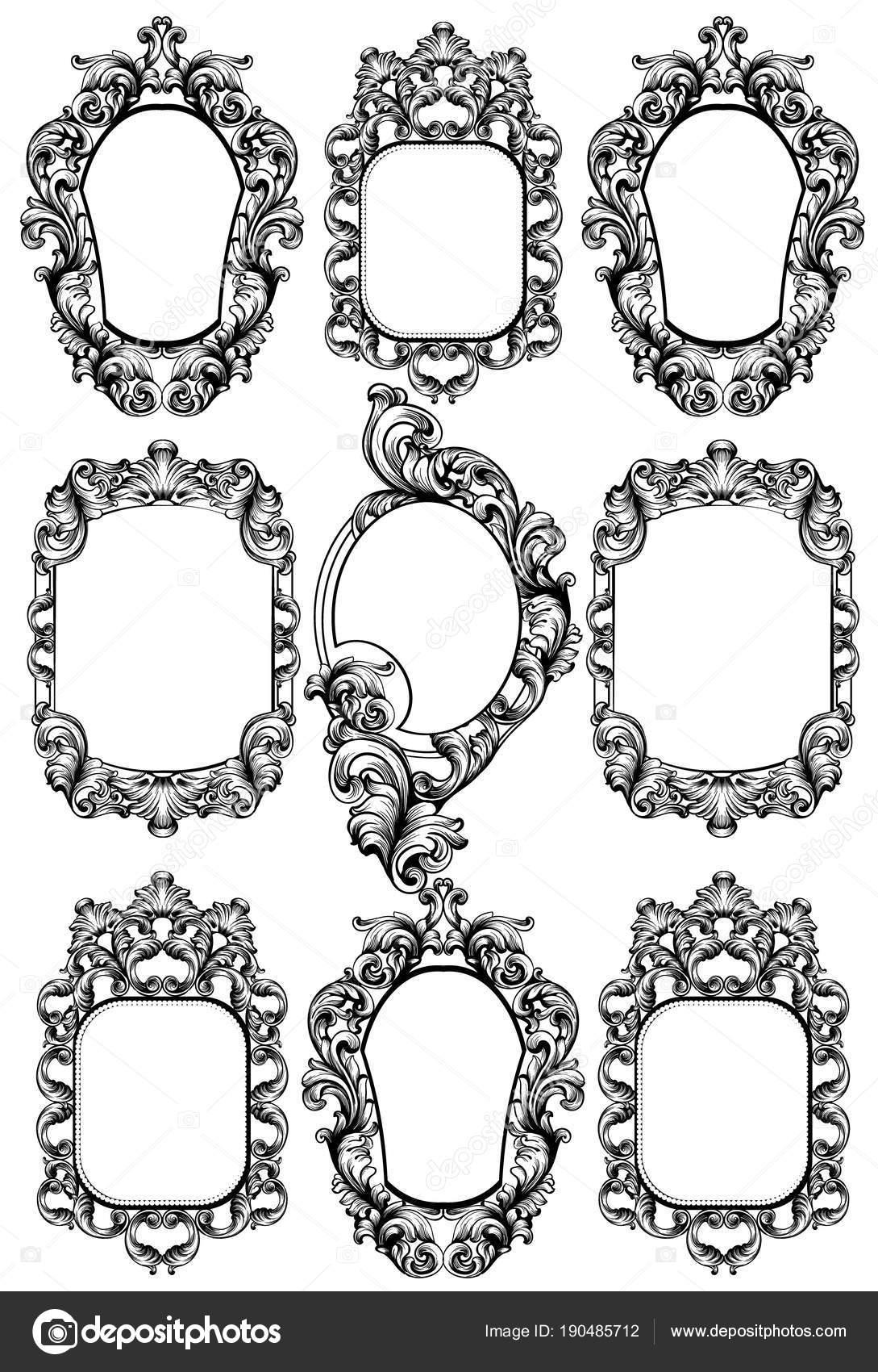 Specchiera barocca elementi di disegno vettoriale for Specchiera barocca