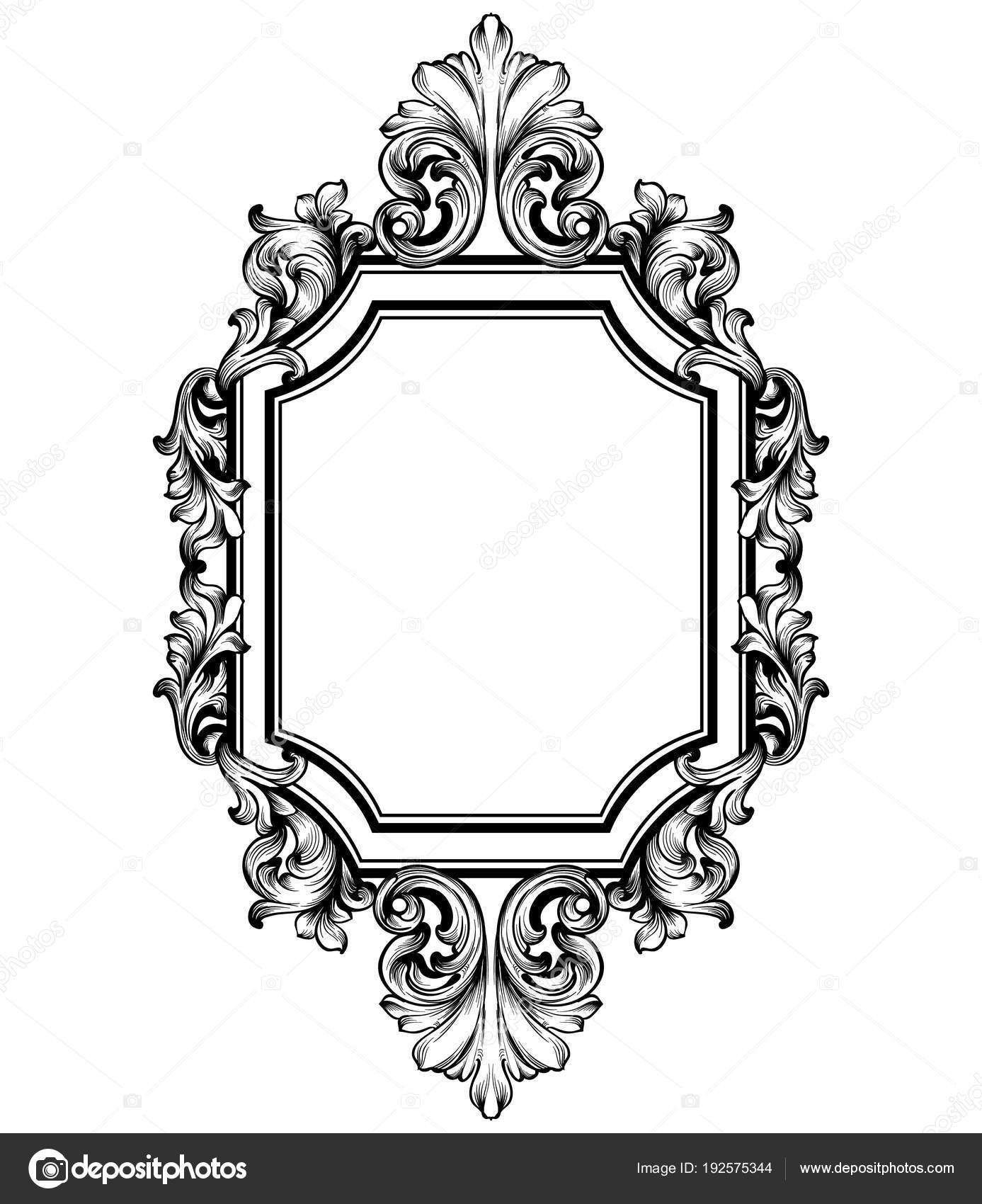 Vector de la decoración del marco barroco. Ilustración de Victorian ...