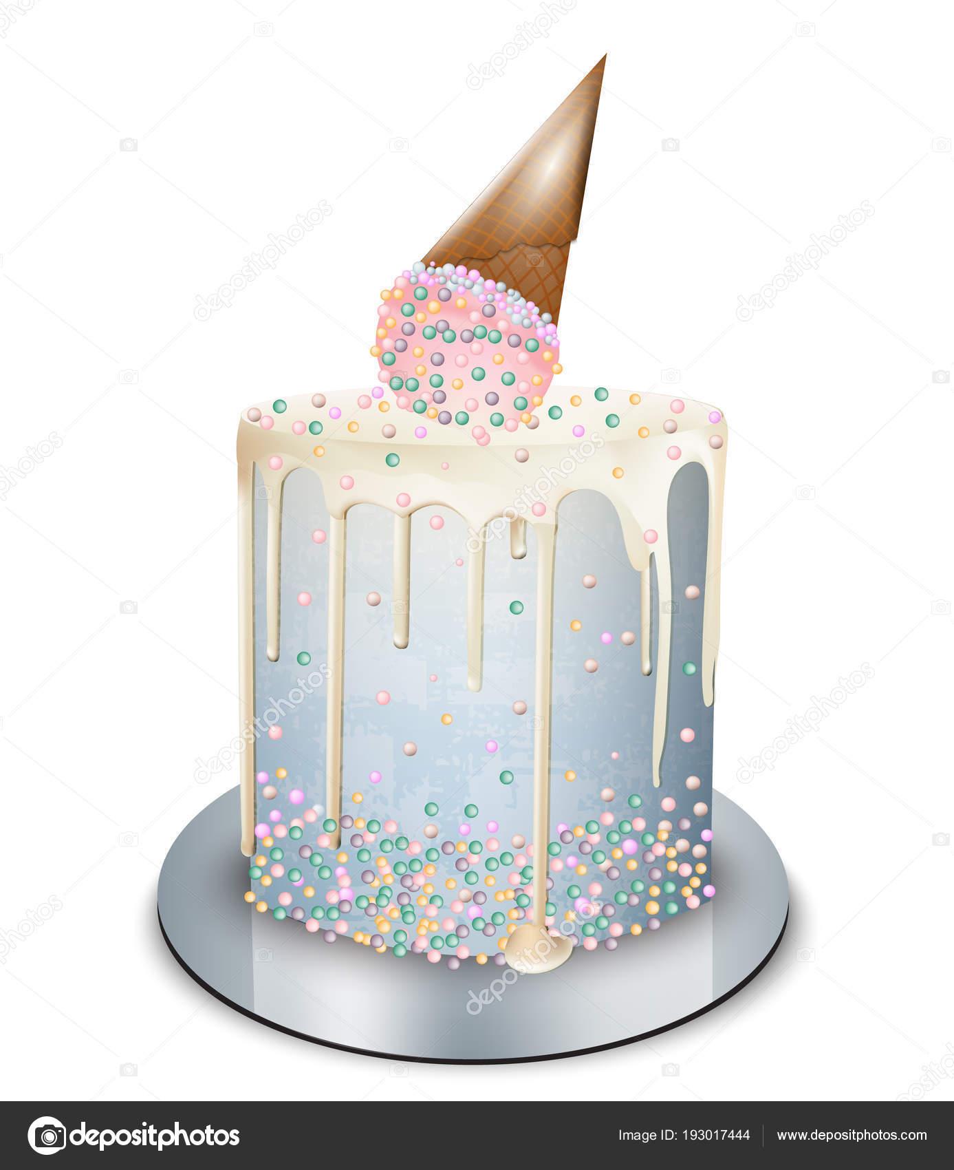 Modern Cake Ice Cream Cone On Top Vector Realistic Birthday Anniversary Wedding Royal