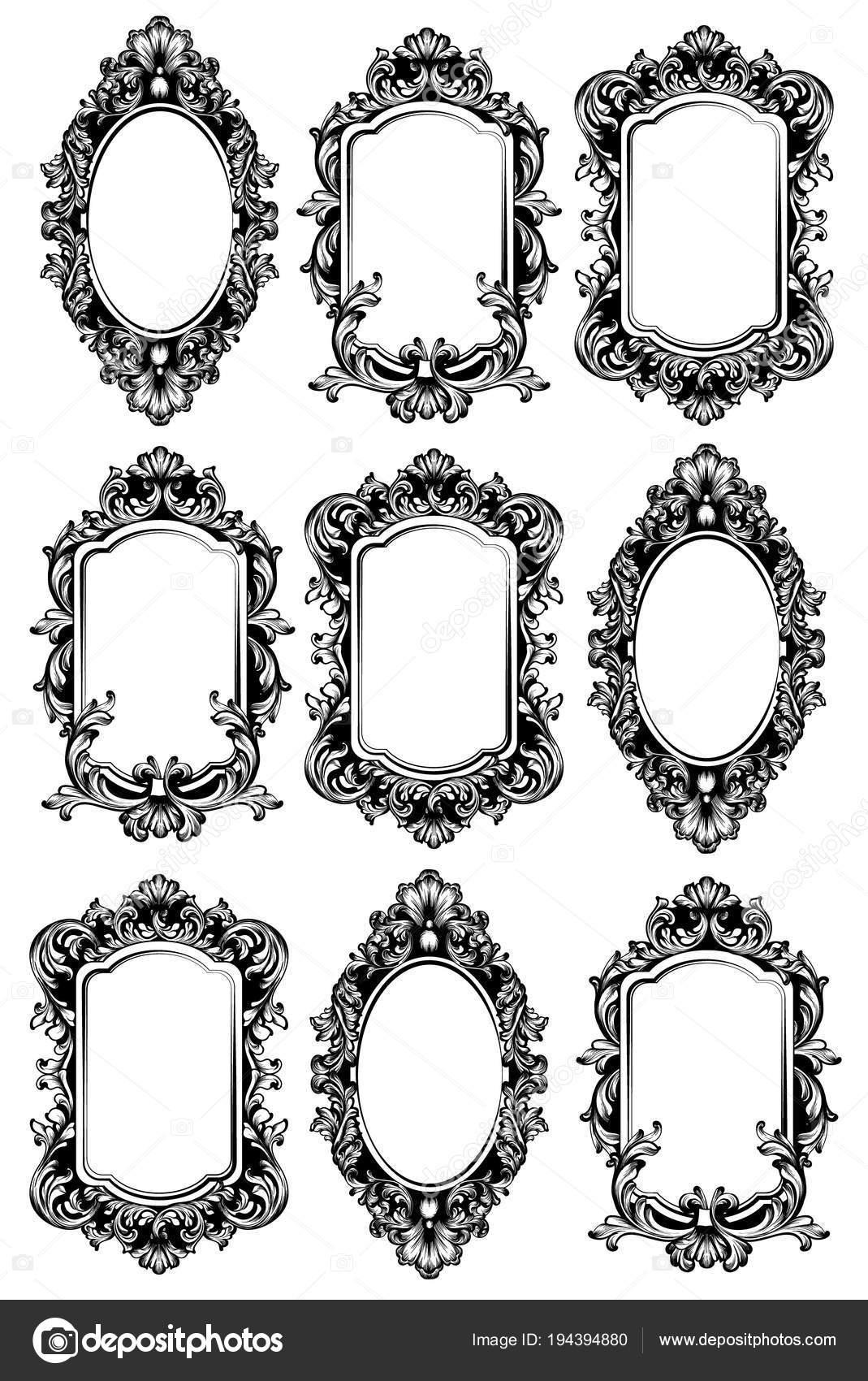 Vector espejos vintage establecer marcos de los espejos for Disenos de marcos para espejos grandes