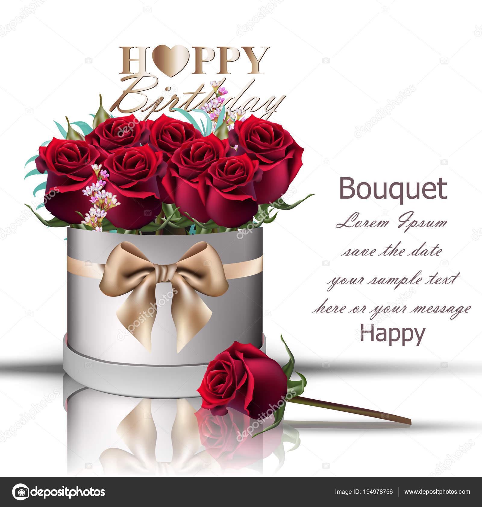 Bouquet De Roses Rouges Heureux Anniversaire Vector Boîte