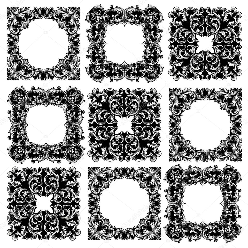 Frame collection set Vector. Classic rich ornamented carved decors. Baroque sophisticated designs