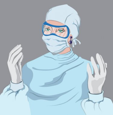 Doctor woman equipped Vector. Virus pandemic working medical stuff. Young woman wearing a disposable coverall with gloves, mask and eye protection glasses