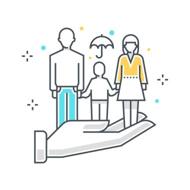 Color line, family insuance concept illustration, icon
