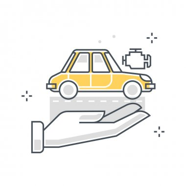 Color line, car insurance concept illustration, icon