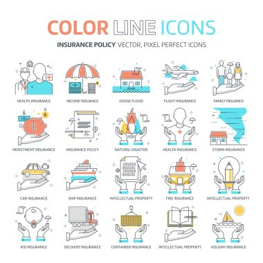 Color line, insurance illustrations, icons