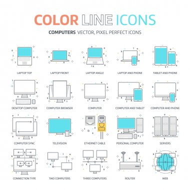 Color line, computer connection illustrations, icons