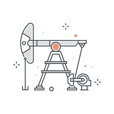 Color line, oil pump concept illustration, icon
