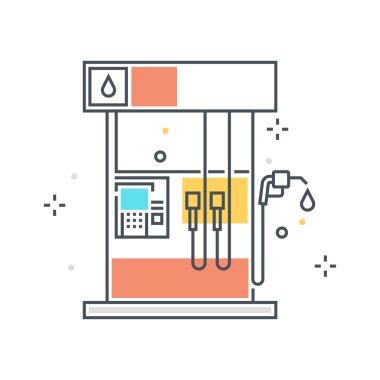 Color line, gasoline station concept illustration, icon