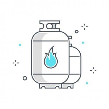 Color line, gas tank illustration, icon