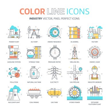 Color line, energy industry illustrations, icons