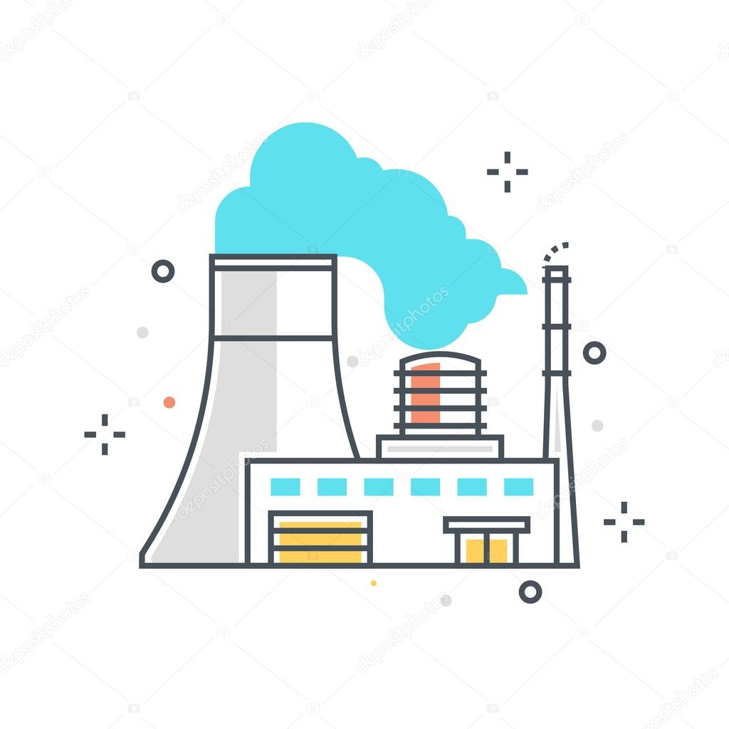 Color Line Power Plant Concept Illustration Icon Vector Image By C Howcolour Vector Stock 127918750