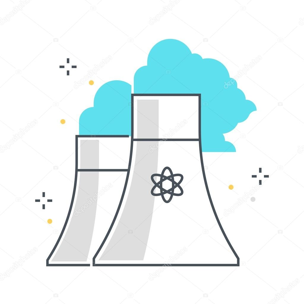 Color Line Nuclear Plant Illustration Icon Stock Vector C Howcolour 127918864