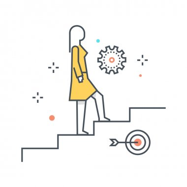 Color line, climbing up illustration