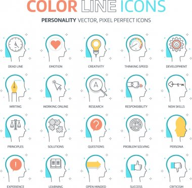 Color line, personality illustrations, icons