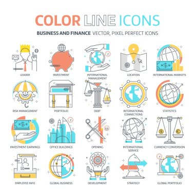 Color line, business and finance illustrations, icons