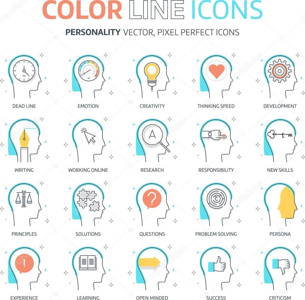 色のライン性格のイラストアイコン ストックベクター Howcolour