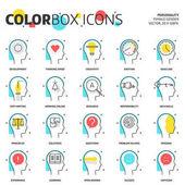 Fotografie Farbige Box Icons, Wirtschaft und Persönlichkeit Konzept