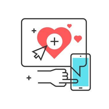 Color box icon, social campaign concept illustration, icon