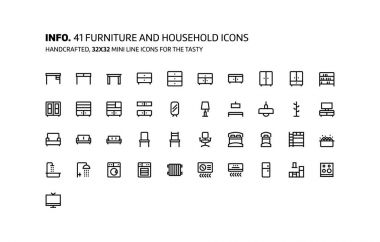 Furnitures mini line, illustrations, icons