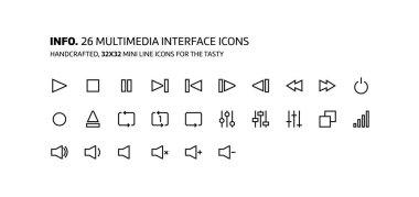Video, music interface mini line, illustrations, icons