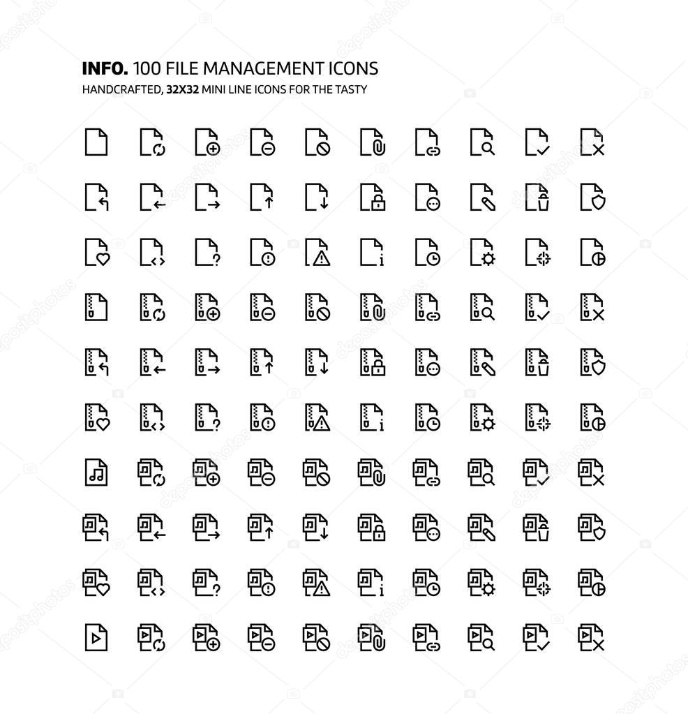 File management mini line, illustrations, icons