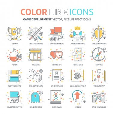 Color line, game design illustrations, icons, backgrounds and graphics. The illustration is colorful, flat, vector, pixel perfect, suitable for web and print. It is linear stokes and fills. clip art vector