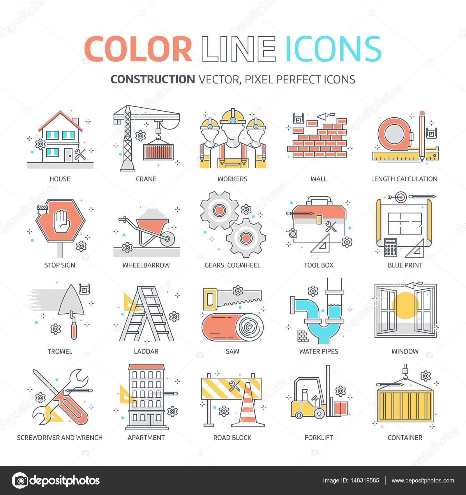 Color de línea, ilustraciones de construcción, los iconos — Archivo ...