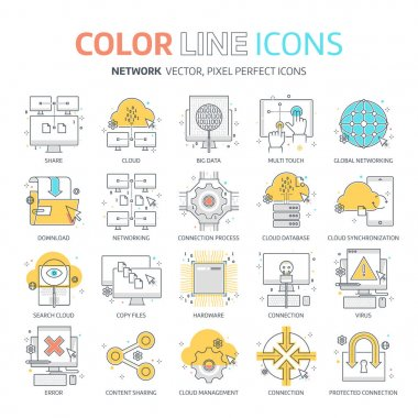 Color line, networking illustrations, icons